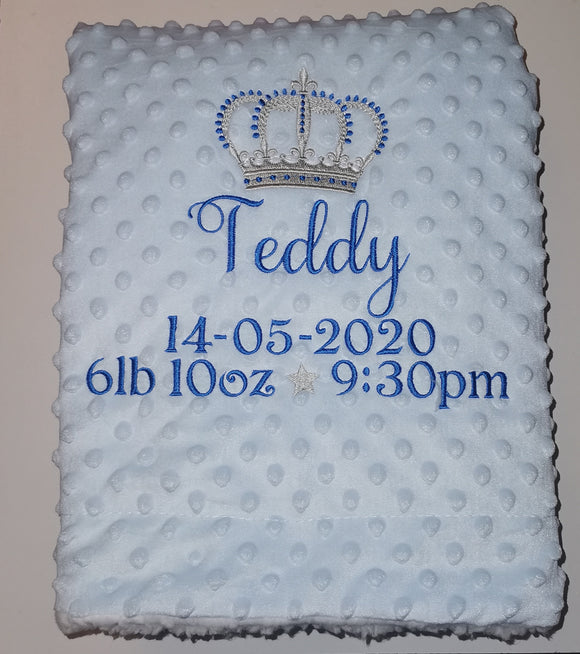 Baby boys personalised Royal crown blanket