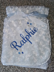 Personalised blue rose fur blanket