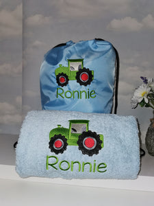 Personalised tractor swim bag & towel set