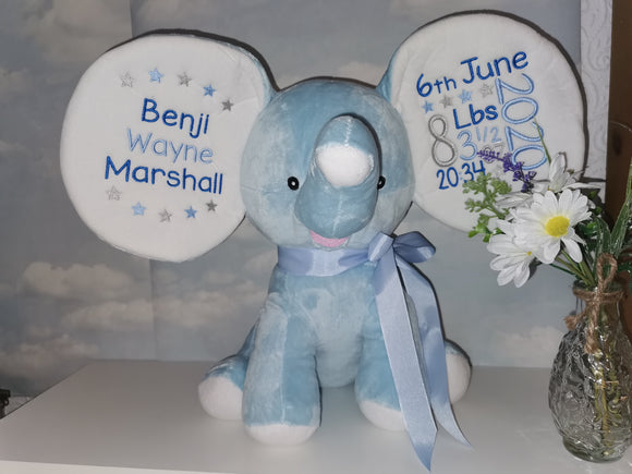 Personalised blue dumble elephant