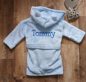 Personalised super soft blue hooded dressing gowns