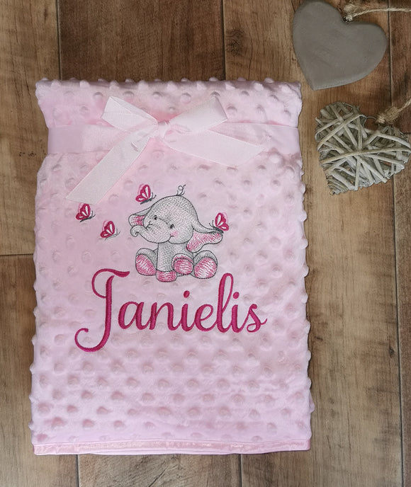 personalised bobble blankets pink, blue or grey