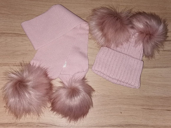 Luxury Rose gold double pom pom hat (hat only)