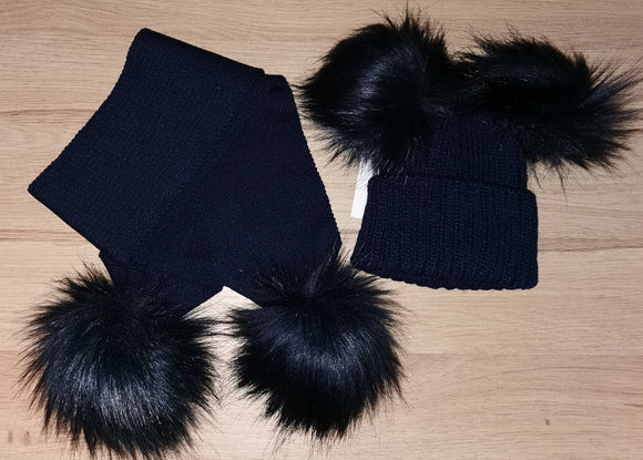 Luxury navy double pom pom hat