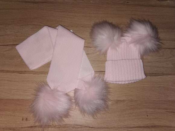 Luxury baby pink double pom pom hat (hat only)