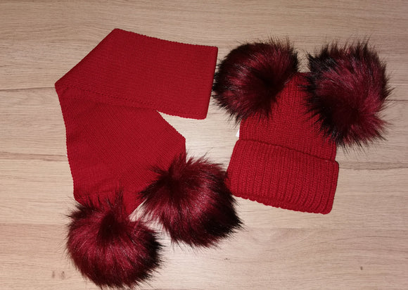 Luxury Ruby red double pom pom hat