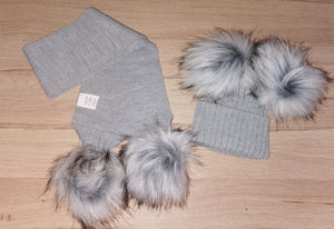Luxury grey double pom pom hat (hat only)