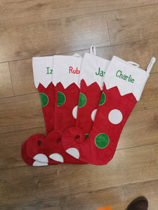 Personalised red spotty oversized luxury christmas stocking