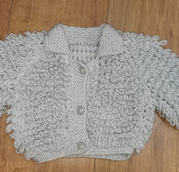Handmade Grey Loopy cardigan 0/6mth
