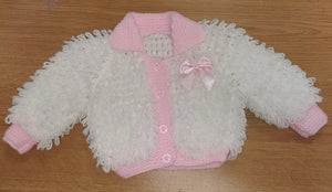 White & baby pink handmade loopy cardigan