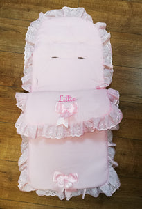 Personalised pink 2 bow universal cosytoes