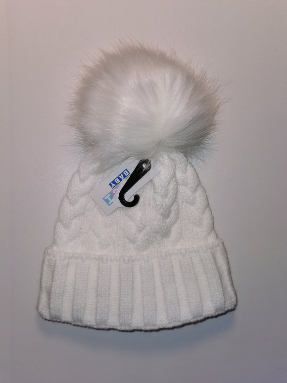 white cable knit hats