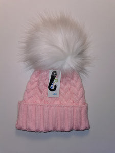 Pink & white cable knit hats