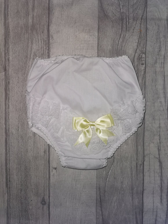 White & lemon bow frilly pants