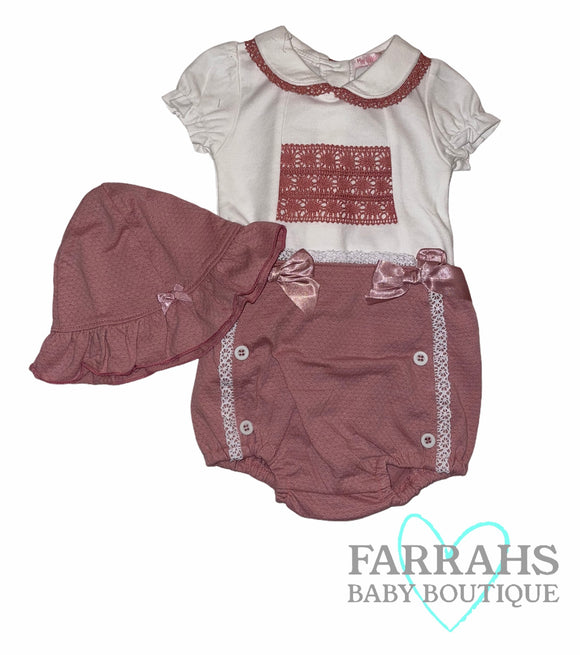 Lace jam pants set with sun hat -  Rose