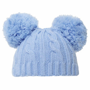 Blue cable knit Double pom hat