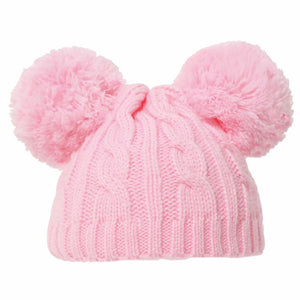 Pink cable knit Double pom hat