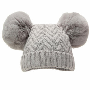Grey Chevron Pom Pom lined hat