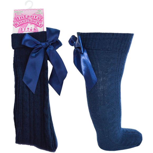 Knee high bow socks - Navy
