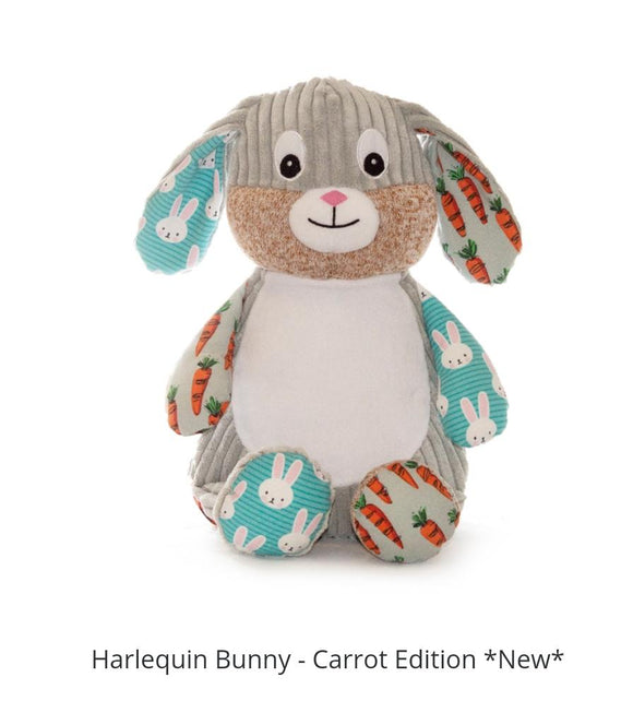 Personalised Cubbies harlequin Carrot Bunny - LIMITED EDITION