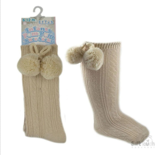 Beige knee high pom pom socks