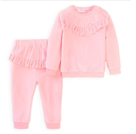 Girls pink velour lounge set