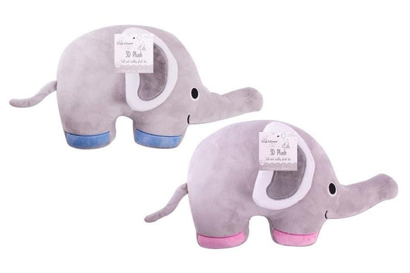 Plush Elephant Cushion pink/blue