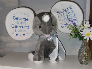 Personalised Grey Dumble Elephant Teddy
