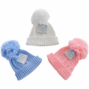 Cable knitted woolly pom-pom Hat