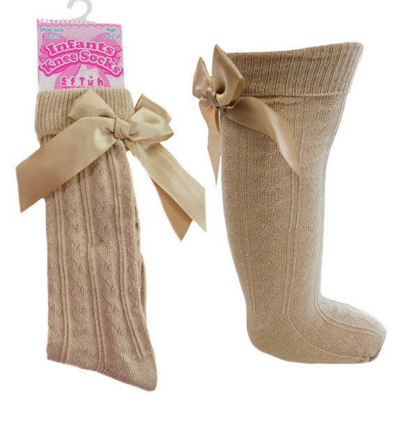 Knee high bow socks - Gold