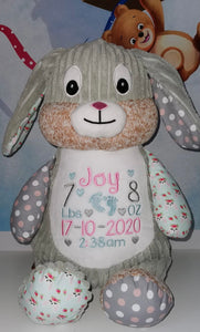 Personalised Cubbies harlequin Chic bunny - LIMITED EDITION