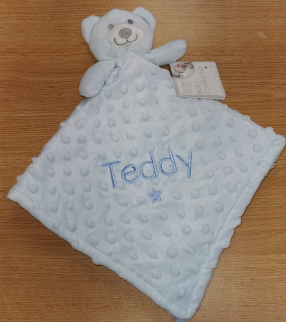 Personalised Blue Bobbley Bear Comforter