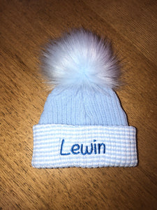 Personalised blue stripe Newborn Pom Pom hats