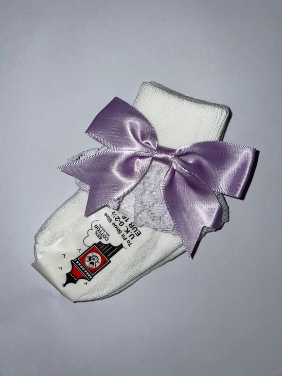 Girls Lilac Bow lacey socks