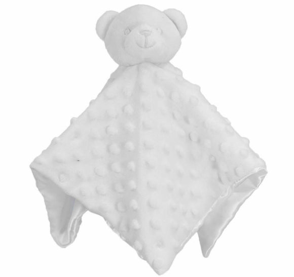 White bobble silk back bear comforter - Personalise me