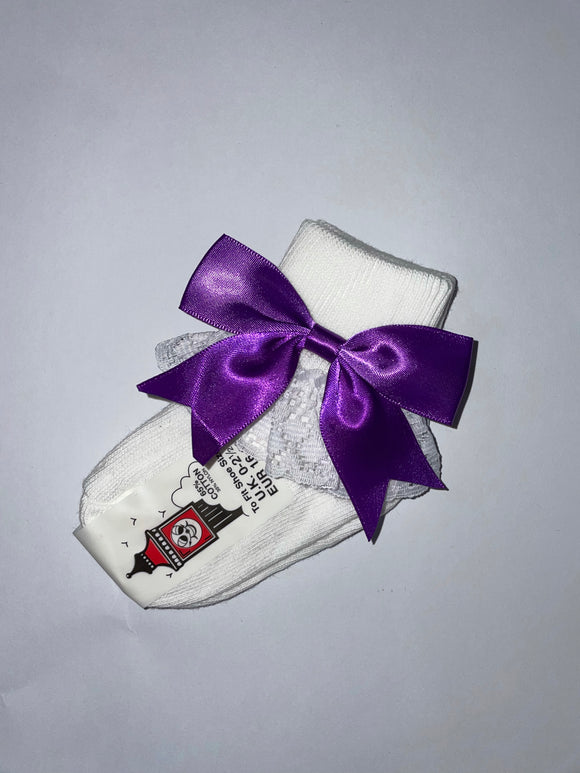 Girls Purple Bow lacey socks