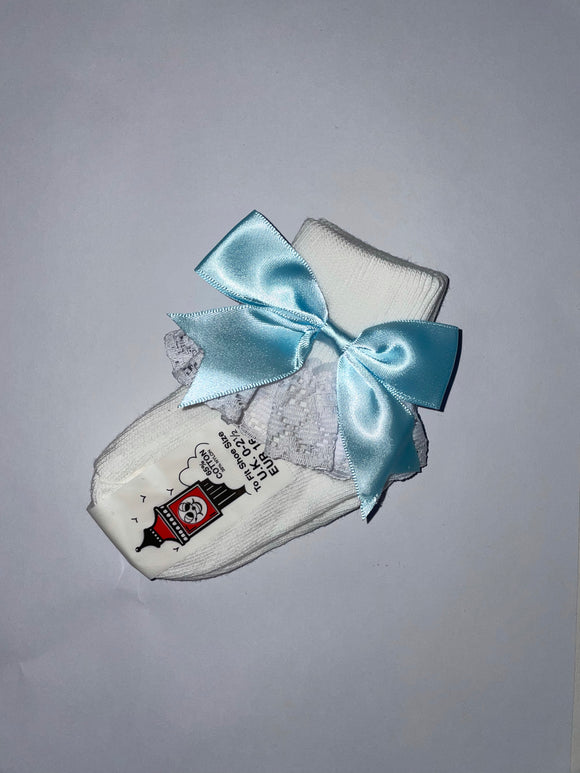Girls Pale Blue Bow lacey socks