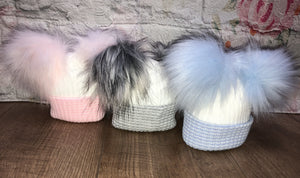 Newborn double pom pom hats