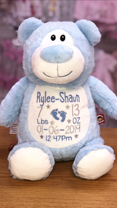 Personalised blue bear + FREE BLANKET