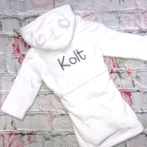 Personalised Super Soft White Hooded Dressing Gowns