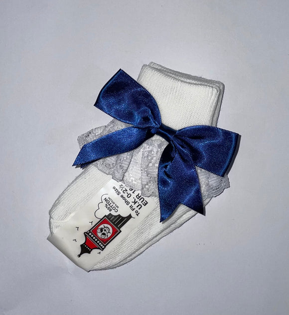 Girls Navy Blue Bow lacey socks