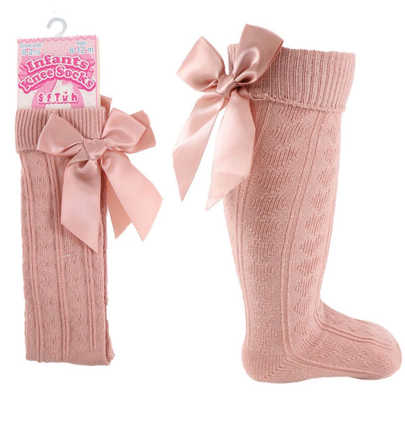 Rose knee high bow socks