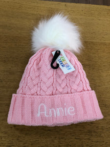 Personalised pink cable knit faux fur Pom hat