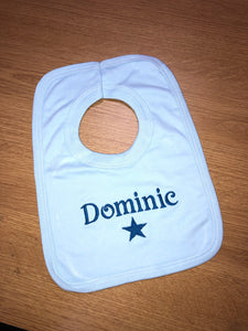 Personalised blue bib with 1st name & star