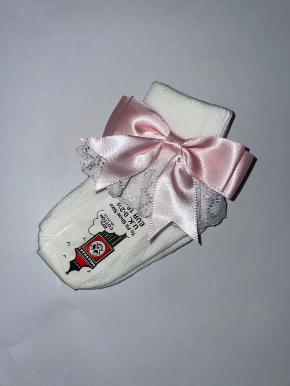 Girls Baby pink Bow lacey socks