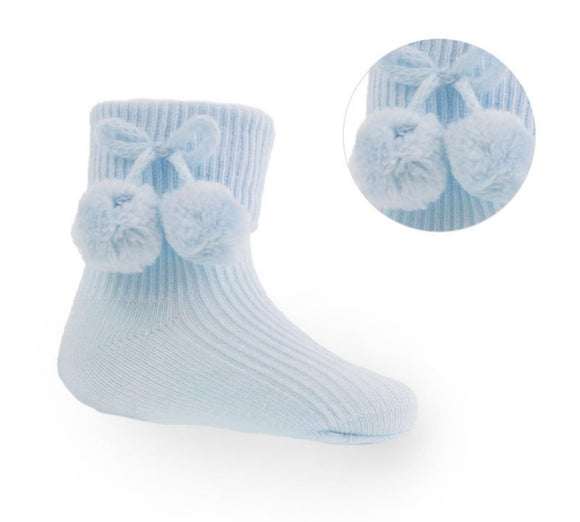 Blue Ankle pom pom socks