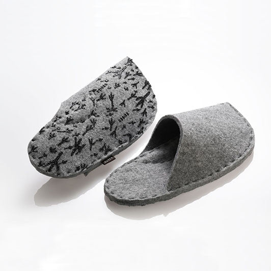 Simple slippers made from recycled felt