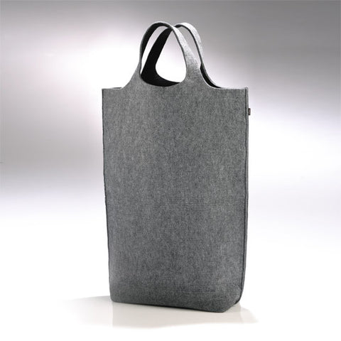 Laundry bag from felt in grey black