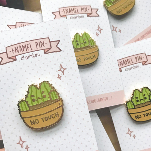 No Touch Cactus Enamel Pin