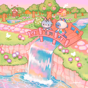Animal Crossing Waterfall Print